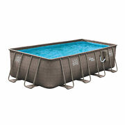 Summer Waves 18ft X 9ft X 52in Above Ground Rectangle Frame Swimming Pool Set