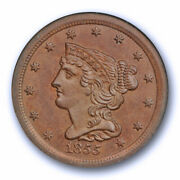 1855 1/2c Braided Hair Half Cent Ngc Ms 64 Bn Uncirculated Old Fatty Holder