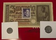 World War Ii Certified Two German Coins 1,10 Rp And 20 Reichsmark Bill And Stamp