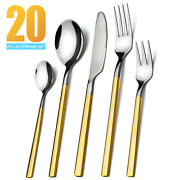 20pcs Silverware Set Service For 4 Stainless Steel Flatware Cutlery Set Gold