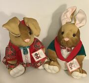 """New W/ Tags Vintage 1995 Holiday Christmas Velveteen Rabbits Couple-2 Plush 14"""""""