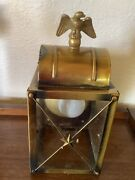 Vintage Brass Glass Porch Wall Carriage Lantern Light Fixture Eagle Sconce Mcm