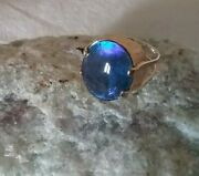 18kt Yellow Gold Ladies Black Round Opal Puerto Rican Size 7 Ring