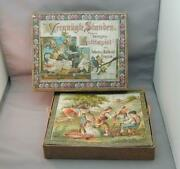 Old German Cardboard Puzzle Game 6 Scenes In Box Great Graphics