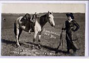 Real Photo Postcard Rppc - Cowgirl With Rifle And Horse - S D Butcher Photo