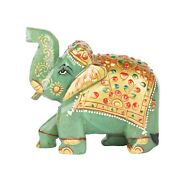 Handicraft Elephant Statue 2000 Ct. Approx. Carved Green Jade Natural Gemstone