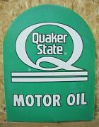 Quaker State Motor Oil Double Sided Metal Tombstone Sign Repair Shop Gas Station