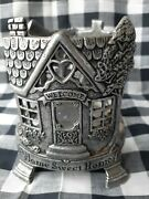 Carson Pewter Candle Jar Holder Home Sweet Home Fits Yankee Jar Candles Farmhous