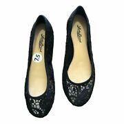 Lucky Brand Flats Slip On Black Lace Like Material 7.5m