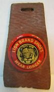 Lion Brand Shoes Wear Longer Antique Advertising Watch Fob Leather Early Unique