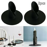 2pcs Iron Taper Candle Holder Candlestick Stand Candlelight Dinner Decoration
