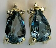 18k Gold London Blue Topaz And Diamond French Clip Earrings