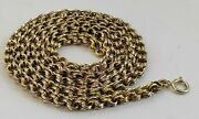 Antique Victorian Solid 14k Yellow Gold Hand Made Rollo Link 19 Chain Necklace
