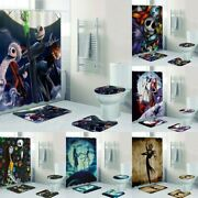 The Nightmare Before Christmas Bathroom Sets 4pcs Rugs Shower Curtain Cover Pad