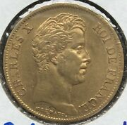 1829 A Paris King Charles X French 40 Francs Gold Coin Km 721.1 France 12.9 Gram