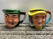 Lot Of 2 Vintage Ceramic Small Mini Toby Mugs Made In Japan Hand Painted 2 1/2