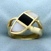 Mother Of Pearl And Onyx Ring In 14k Yellow Gold