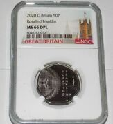 Ngc 2020 Great Britain Rosalind Franklin 50p Pence Uk Ms66dpl Ms 66 Dpl Coin
