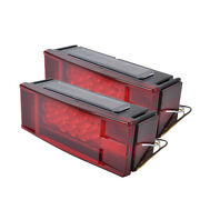 2 Pieces Trailer Boat Rectangle Stud Stop Turn Signal Tail Red Led Lights