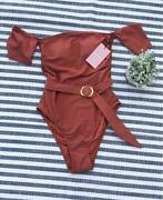 Juicy Couture Burnt Orange One Piece Womenand039s Off-shoulder Swimsuit Msrp 99