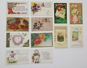 Lot Of 23 Greetings Antique Postcards Mainly Flowers And Some Large Letter