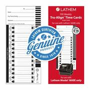 Lathem Time - Time Cards - Lathem Trualign E16 Time Cards For 1600e Weekly