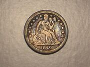 1849 O Seated Liberty Dime Abt. Vf Small O And Attractive