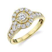 14k Yellow Gold Diamond Halo Engagement Ring Solitaire Natural Round Cut 1.22tcw