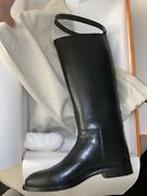 Authentic Hermes 39 8.5 Jumping Noir Shoes Riding Style Boots Black Silver New