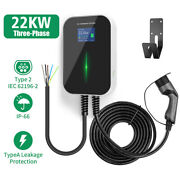 22kw Ev Charging Station 32a 3 Phase Type2 Wallbox Electric Car Charger 6m Cable