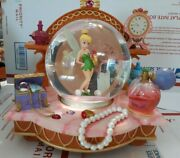Disney Tinkerbell You Can Fly Musical Snow Globe Jewelry Chest Vanity Pearls Ex+