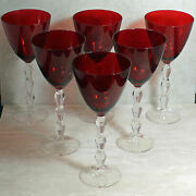 Lenox Holiday Carat Ruby Red Wine Glass 8 3/4 Set Of 6