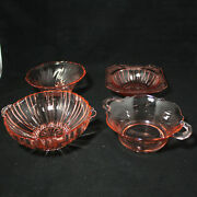 Lot Of Four 4 Pink/rose Small Glass Bowls Candy Dishes No Boxes