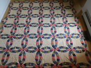 Antique 83 Sq Double Wedding Ring Hand Quilted Quilt Vintage Civil War Colors