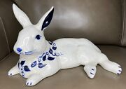 Dedham Pottery Potting Shed Blue And White Large Reclining Rabbit Figure