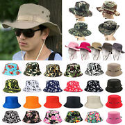 For Unisex Boonie Bucket Hat Fishing Hunting Summer Camouflage Sun Caps Outdoors