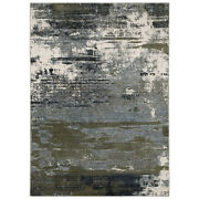 Sphinx Blue Lines Faded Stained Smeared Contemporary Area Rug Abstract 8020l