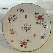 """Melba Mel 2 Saucer Only 5 ½"""" Fine Bone China England Pink Roses Discontinued Htf"""