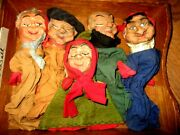 Set Of 1930's Rare Antique Punch And Judy Carved Wood Theatre Hand Puppets