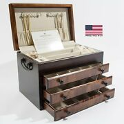 American Chest Company Flaming Amish Birch 3 Drawer Jewel Chest Jewelry Box