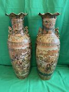 """Large 36"""" Royal Satsuma Temple Fluted Floor Vases Pair With Moriage Geisha Girls"""