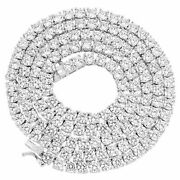 Mens 4mm 1 Row Real 925 Sterling Silver Ice Diamond Tennis Chain Necklace 18