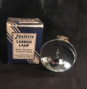 Vintage Justrite Miners Carbide Lamp, Box And Direction Chicago Ill