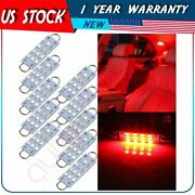 10pcs Red 44mm Festoon Led Lights Lamps 12-smd-2835 Car Interior Working Bulbs