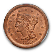 1853 1c Braided Hair Large Cent Pcgs Ms 64 Rb Uncirculated Mostly Red Nice