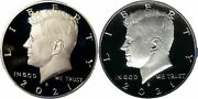 2021 S-s Clad And Silver Proof Kennedy Half Dollars From Us Proof Sets In Hand