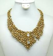 Panetta Gold Tone Crystal Jeweled Openwork Bib Style Abstract Brutalist Necklace