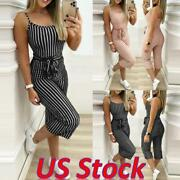 Us Women Slim Stripe Casual Strappy Jumpsuits Sleeveless Rompers Playsuits Pant