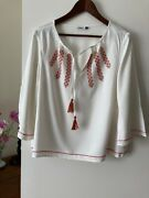 Embroidered Peasant Blouse Size 12 Eu 40 Excellent Condition