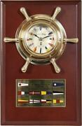 Maritime Signal Flags Watch In Steering Wheel Made Of Brass On Classy Wood Board